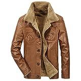 JJWC Chaqueta de cuero cálida para hombre Parkas Hombres Hombres a prueba de viento Fleece Abrigo grueso Hombres Moda Collar de piel Chaqueta (Color : Brown, Size : 2XL code)