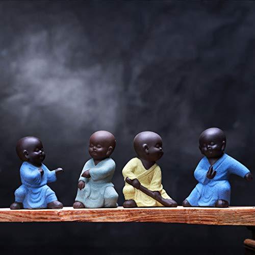 Pet Conjunto De 4 Mini Adornos De Buda Afortunado Sentado Decoración del Hogar Adornos De Jardín Interior O Exterior Figuras De Yoga De Meditación Feng Shui B