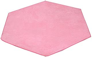 Missingift Hexagonal Rug for Kids Playhouse Super Soft Home Carpet Ground Mat Kids Tent Rugs Children Playhouse Pad Pink Cushion 140 x 140 cm(Coral Fleece)