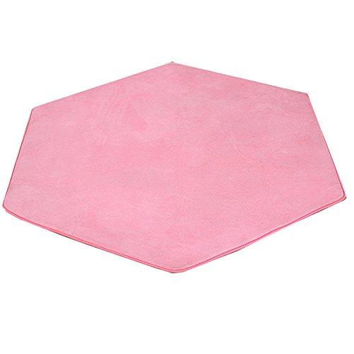 Hexagonal alfombra Pad Coral Fleece Rosa Super Suave Home alfombra de suelo para tienda de campaña - Alfombra infantil Playhouse Pad Cojín 140 x 140 cm (Rosado)