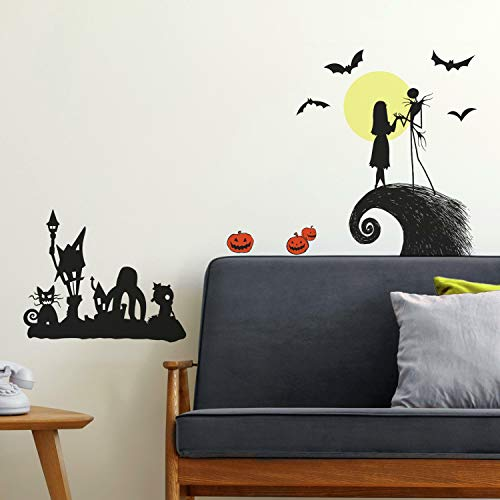 RoomMates RMK4068SCS Nightmare Before Christmas Silhouette Peel and Stick Wall Decals, Black, Yellow, Orange