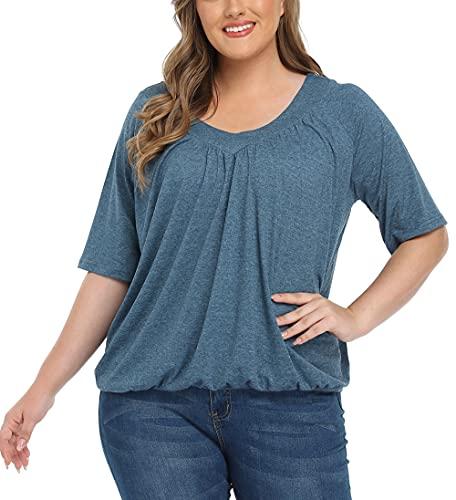 Anienaya Women's Plus Size Pleated Loose Flowy Top V Neck Short Sleeve Elastic Hem Cotton Blouse Tunic T Shirt