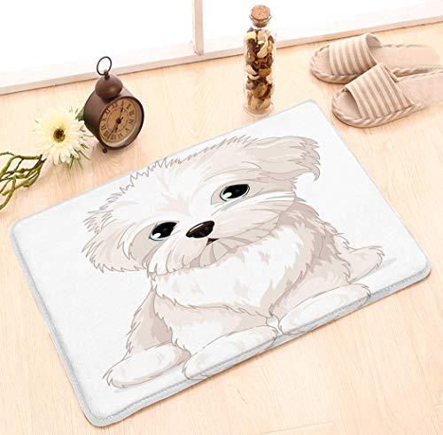 Teppich Innen/Außen/Haustür/Dusche Badezimmer Fußmatte rutschfeste Fußmatten 23.6X15.7 Zoll Malteser Hündchen Clipart