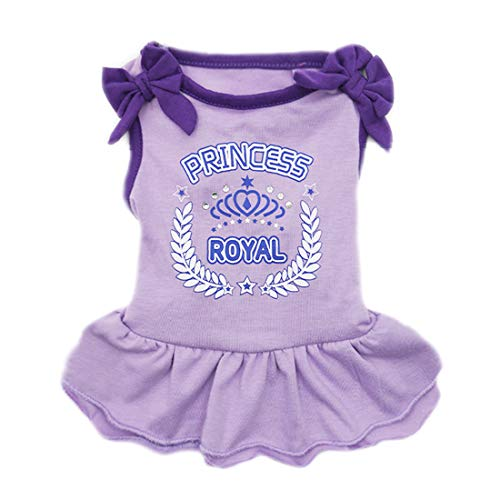 kyeese Dog Princess Dresses Girl Bowtie Doggie Sundress Beach Dress Small/Medium Dogs (XS, (Princess) Lavender Purple)