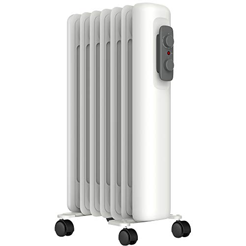 MYLEK Oil Filled Radiator Electric Heater - Portable 1500W With Adjustable Thermostat & 3 Heat Settings - Tip-Over Protection, Thermal Safety Cut Out - Low Energy Efficient (1.5kW)