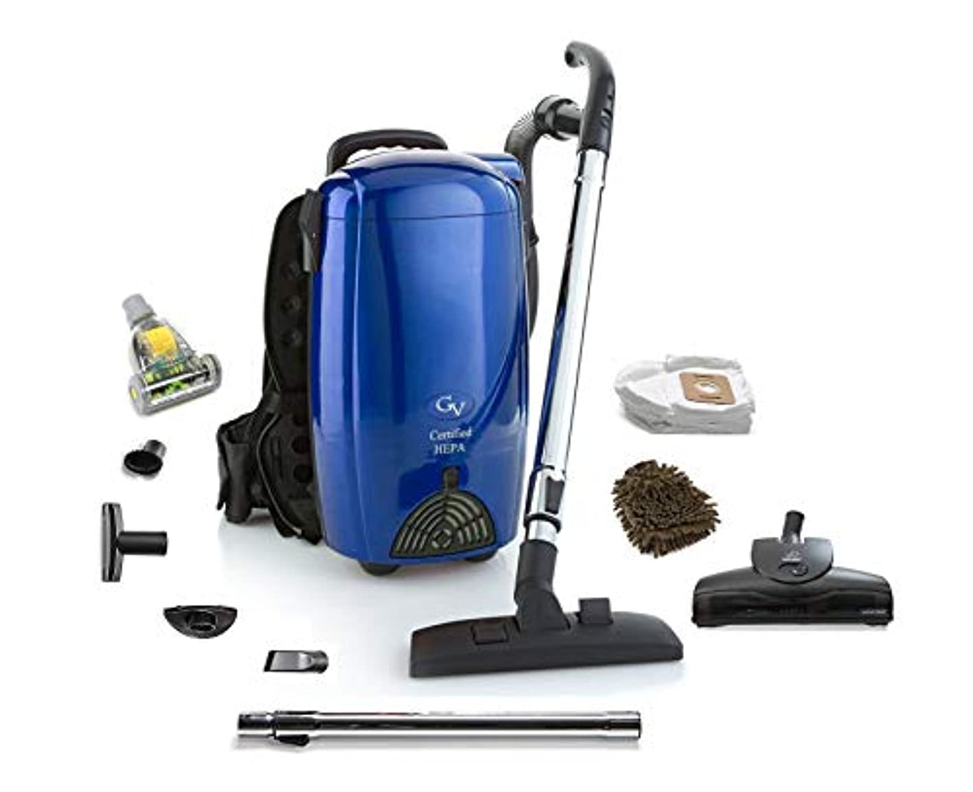GV Blue 8 Qt Quart HEPA Backpack Vacuum Blower (Complete Set) w/Bonus: Premium Microfiber Cleaner Bundle aahuuswttro956