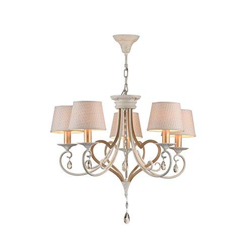 Eleganter moderner Kronleuchter, weißes Metall mit goldener Patina, echter Kristall-dekor, 5-flammig, exkl. E14 40W, 220-240V