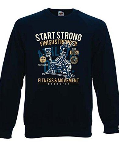 t-shirteria Felpa Girocollo Start Trong Finish Stronger - Fitness e Movimento - Cyclette - Idea Regalo - in Cotone