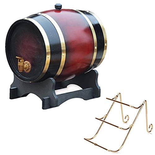 GAXQFEI Barril de Whi 20L, Cubo Decorativo de Roble con Grifo con Estante de Vino Adecuado para Alenar Vino, Miel, Cerveza, Agave Mini Barril de Vino (Retro Rojo, 20L), Bastidores de Vino,Rojo Retro,