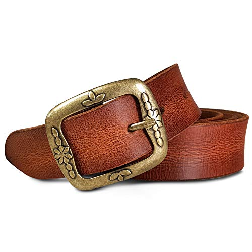 ROYALZ Vintage Ledergürtel für Damen aus Büffel-Leder 38mm breit Jeans-Gürtel Damen kürzbar Voll-Leder, Größe:80, Farbe:Cognac Braun - Schnalle Floral Antik