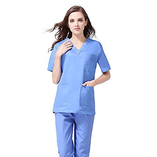 AKDSteel - Vestidos de algodón Impermeable de Manga Corta para Mujer, Enfermeras, médicos, Ropa de Trabajo práctica electrónica