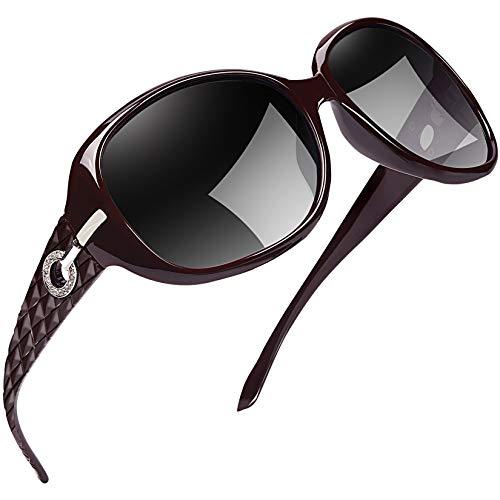 Joopin Gafas de Sol Mujer Polarizadas de Moda Protección UV400 de Gran Tamaño Gafas de Sol Señoras (Vino tinto)