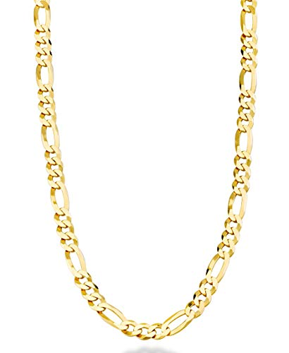 Miabella Solid 18K Gold Over Sterling Silver Italian 5mm Diamond-Cut Figaro Link Chain Necklace for Women Men, 16, 18, 20, 22, 24, 26, 30 Inch 925 Made in Italy (18 Inches)