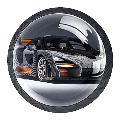4 pomos redondos para puertas de armario, muebles, cajones, tiradores de herrajes para coches de rally (2) de 35 mm