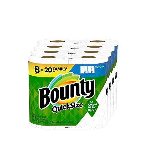 Bounty Quick-Size Paper Towels, White, 8 Family Rolls = 20 Regular Rolls (Packaging May Vary) Hawaii