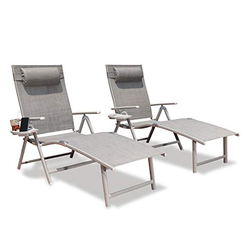 GOLDSUN Aluminum Outdoor Folding Lounge Chairs Adjustable Chaise Lounge Chair Set of 2 with Headrest and Tray for Patio Beach Porch Swimming Poolside (Set of Two, Grey)