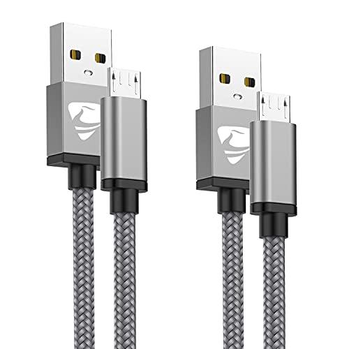 Aioneus Micro USB Kabel [1M+2M,2 Stück] Handy Schnellladekabel Nylon Micro USB Ladekabel High Speed Datenkabel für Android Smartphones, Samsung Galaxy, Xiaomi, Huawei, Nexus, Nokia, Motorola, Kindle