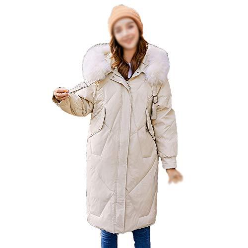 HYWZQ Frauen Lange Daunenmantel mit Pelz Hood Dickere Winter-Slim Down Lammy Jacke beiläufige Warm Tasche Windjacke,Khaki,S