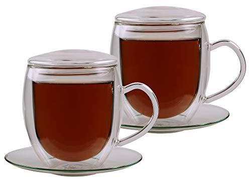 """Feelino 2x 400ml \""""Bullino\"""" große doppelwandige Thermotassen incl. 2x GLASDECKEL - mit Untersetzer und Schwebe-Effekt - edle Glas-Teetassen / Kaffeetassen in tollen farbigen Geschenkkartons"""