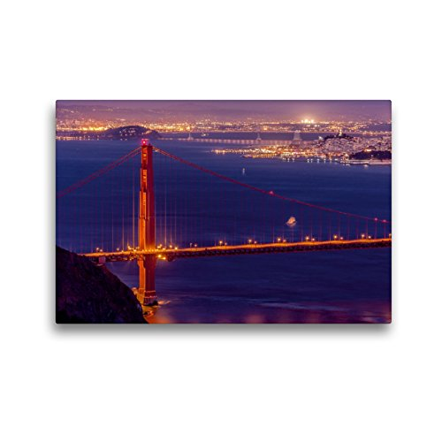CALVENDO Premium Textil-Leinwand 45 x 30 cm Quer-Format Golden Gate Bridge - San Francisco, Leinwanddruck von TomKli