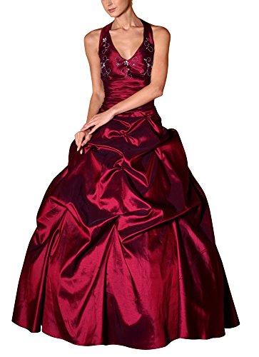 Romantic-Fashion Damen Ballkleid Abendkleid Brautkleid Lang Modell E451 A-Linie Perlen Pailletten DE Rot 50