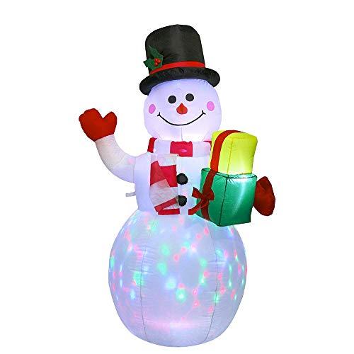 Bonhomme de Neige Gonflable de Noël, 1,2/1,5m Décorations de Noël gonflables avec lumières LED rotatives pour intérieur extérieur Cour de récréation Accueil Jardin Décorations de fête Noël (1.5m)