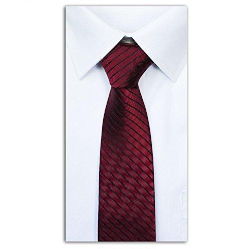 SoulCats dezente Krawatte gestreift + Anleitung Streifen Schlips Herren grau schwarz rot, Farbe:dunkelrot