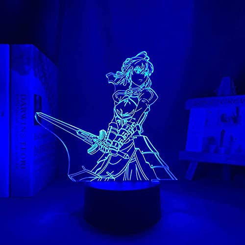 Luz de noche 3D para niño Lámpara de anime de cabecera Lámpara 3D Waifu Zero Mesa de dos dígitos para cama Dormitorio Decoración Luz de regalo Lámpara Darling 16 colores Lámpara táctil de anime