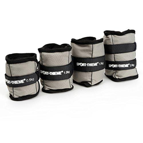 Sport-Thieme Gewichtsmanschetten für Handgelenk/Fußgelenk | 2er Set hochwertiger Handgewichte/Fußgewichte | 1kg, 1,5kg, 2kg, 2,5kg | Polyester, Metall-Granulat, Klettverschluss | Grau-Schwarz