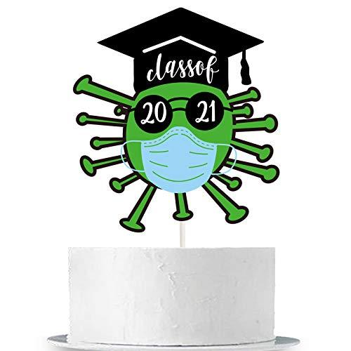 Class of 2021 Cake Topper Green 2021 Quarantined Graduation Party Cake Decor Congrats Grad/Social Distancing Grad/Happy Quarantined Graduation/2021 Graduation Party Cake Supplies Decorations