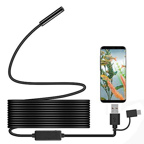 Endoscopio, ihong Android OTG 5M impermeable serpiente HD cámara de inspección de vídeo endoscopio con 6 luces LED cable de seguridad apto para Samsung Galaxy/SONY/Nexus Android Smartphone y Ordenador