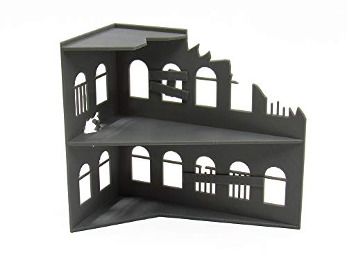 EnderToys Ruined Building, Terrain Scenery for Tabletop 28mm Miniatures Wargame, 3D Printed and Paintable
