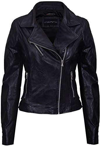 14 100Leather Biker Black Vintage Ladies Brando Jacket 2WH9EDI