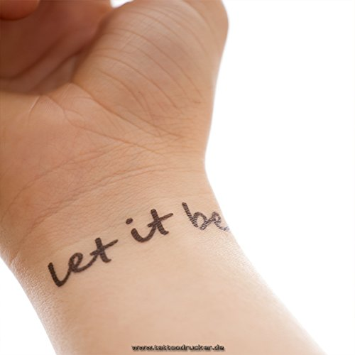 Let It Be – 2 Varios Tattoo Texto en negro – Cuerpo Tattoo, negro ...