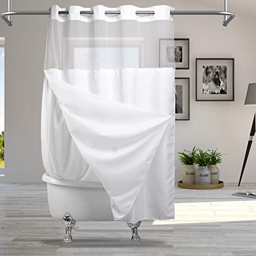 Modern Hotel Grade No Hooks Needed Shower Curtain or Liner (White Plain+Window, Standard(71W x 74L))
