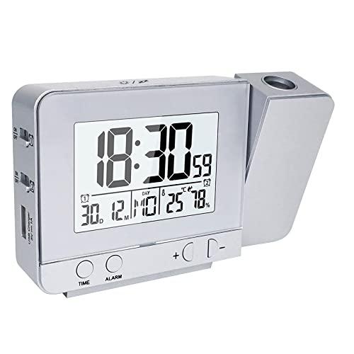 Houkiper LED Horloge de Projecteur, Réveil Numérique Réveil à Projection Température Intérieure 4 Niveaux Luminosité Reglable Fonction