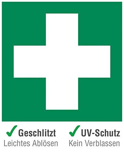 6 Stück (5 + 1 Gratis) Premium Erste Hilfe Aufkleber - Hinweis in Grün - Folie selbstklebend und Wetterfest - Erste Hilfe Rettungszeichen Schild für Innen & Außen mit UV-Schutz