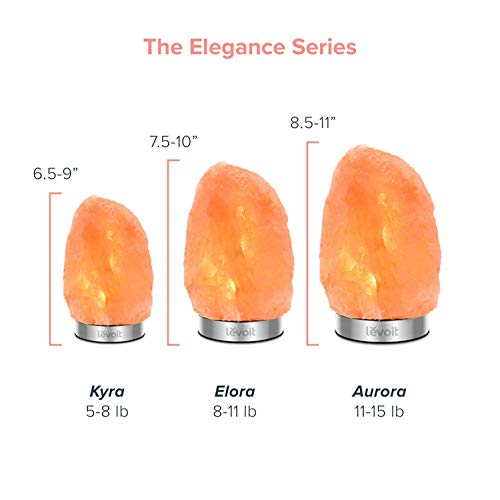 Levoit Kyra Salt Lamp, Himalayan / Hymilain Sea Salt Lamps, Pink Crystal Salt Rock Lamp, Night Light, 18/8 Stainless Steel Base, Dimmable Touch Switch, Holiday Gift(ETL Certified, 2 Extra Bulbs)