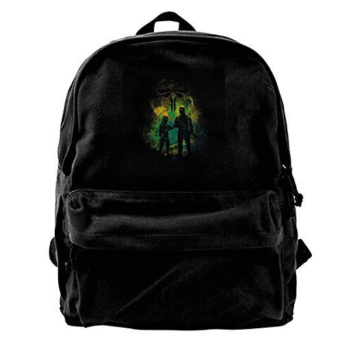 MIJUGGH Canvas Backpack Last of Us Joel and Ellie Outline Rucksack Gym Hiking Laptop Shoulder Bag Daypack for Men Women