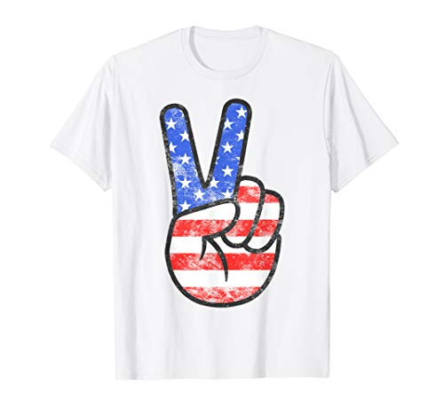 American Flag Peace Sign Hand T-Shirt Fourth of July Gift T-Shirt
