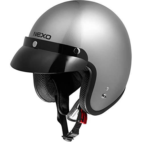 Nexo Jethelm Motorradhelm Helm Motorrad Mopedhelm Material: ABS, Innenausstattung: waschbar, 100% Polyester, Gewicht: 950 g, Schnellverschluss, ECE 22/05, abnehmbarer Schirm, XS – XXL / 2XL