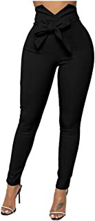 XXTAXN Women's Casual High Waist Stretch Trousers Solid Pencil Pants with Tie