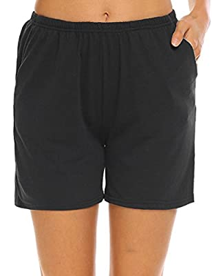 Ekouaer Pajama Shorts Womens Soft Cotton Lounge Pants with Pockets (Black,S)