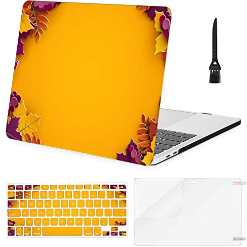 4 in 1 Laptop Case for MacBook Pro 15 inch (2009-2012) with CD-ROM Driver,A1286 Autumn Tree Paper Leaves Yellow Hard Shell Cover with Keyboard Cover Screen Protector Cleaning Brush