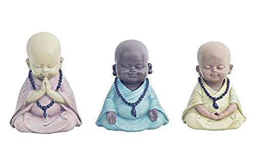 G&S Moines BOUDDHISTES Zen lot Neuf statuettes x3 méditation Couleur Pastel en polyrésine de 11cm