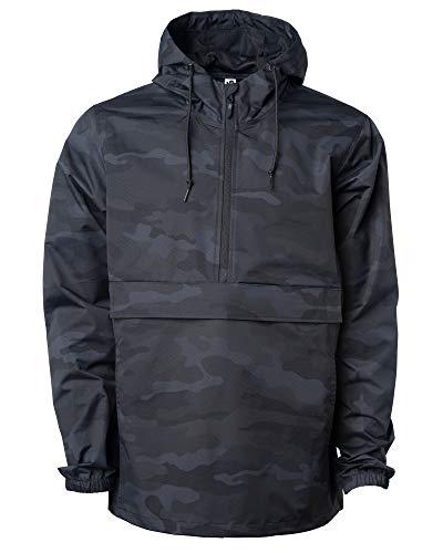 Global Blank Men's Hooded Raincoat Waterproof Jacket Zip Up Windbreaker Anorak (Black Camouflage, Medium)