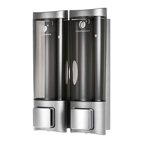 WSLWJH Zeepdispenser voor de badkamer, dubbele zeepdispenser voor de badkamer, zeepdispenser voor aan de muur of wasmiddel, voor vloeibare zeep, handzeepdispenser 2 stuks zilver.