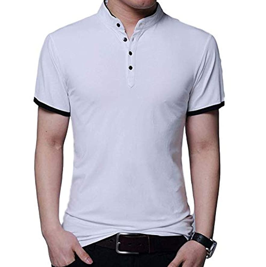 出撃者恨みサドル[タイセック]メンズ ポロシャツ 半袖 ストレッチ タイト 無地 綿 ボタン 春 カジュアル M~XL