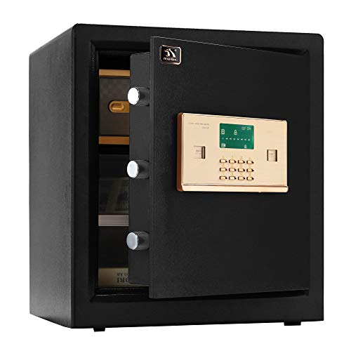 TIGERKING Digital Security Safe Box,Double Safety Key Lock and Password,Special own Interior Lock Box Safe for Home Office 1.5 Cubic Feet