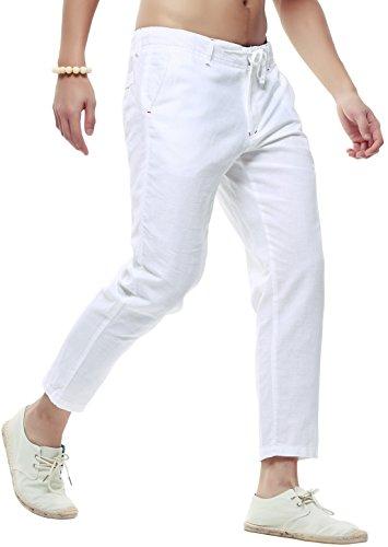 chouyatou Men's Casual Drawstring Straight Fit Beach Linen Capri Pants (X-Large, White)